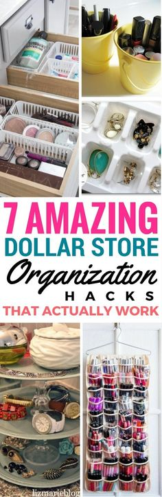 7 Dollar Store Organizing Ideas For The Bedroom - Cheap and easy diy projects and ways to organize your make up and other accessories that will surely help you out while making your home decor look even better. These Dollar Store Crafts are the best!