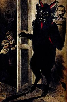 """""""Krampusis amythicalcreature recognized in the Alpine countries.According to legend, Krampus accompanies St. Nicholas during the Christmasseason, warning and punishing bad children, in contrast to St. Nicholas, who gives gifts to good children."""