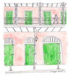 French Quarter Views   #frenchquarter #NOLA #architecture #details #neworleans #neworleansart #illustration #illustratehome #handmade #neworleanshanddrawn #painting #paintsmallandoften #neworleansrealestate #realestate #archilovers #thatlacommunity #dreamjob #girlboss #painter #smallpaintings #5by7 #etsy #watercolor #prettycolors #pinkbuildings #watermelon #pink #green #walkingmanstudios by walkingmanstudios