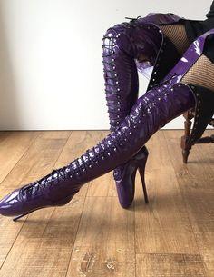 RTBU EZRA Wide Tongue Corset Dominatrix Knee/Thigh/Crotch Boot Purple Patent ĸ, мoved away ғroм вalleт looĸ тo ѕeх gear. Sexy High Heels, Platform High Heels, Ballet Boots, Ballet Heels, Thigh High Boots, High Heel Boots, Heeled Boots, Stilettos, Stiletto Heels