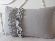Oh so chic grey ruffled pillow
