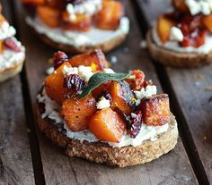 Tieghan of Half Baked Harvest shares her Caramelized Butternut Squash and Gorgonzola Cheese Crostinis recipe for entertaining on Thanksgiving.