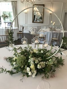 Floral hoop table centre