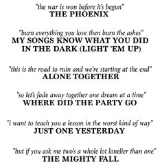 I don't even need the song names under the lyrics, I know them off the top of my head haha. Oops!