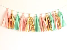 Coral, Mint & Gold Tissue Tassel Garland ~ Mint and Gold Party ~ Pink and…