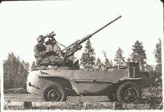 "German 20mm ""AA gun"" on a Volkswagen Schwimmwagen amphibious vehicle."