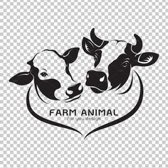 Vector of two cows head design on a white background. Cows Icon or logo. Cow Logo, Farm Logo, Brand Identity Design, Logo Design, Branding Design, Corporate Branding, Cow Icon, Cow Head, Wood Burning Crafts
