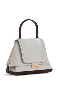 Emma Bag in White Marble Calf Leather with Dark Brown Details by Cambiaghi for Preorder on Moda Operandi