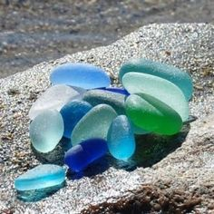 Shades of blue in lovely rounded shapes - this is top quality sea glass, and it is hard to find, unless you are lucky to live in the right place where such finds are common - but these are few and far in between - usually coastal areas.