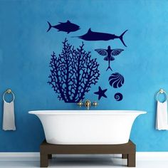Wall Decals Coral Fish Decal Vinyl Sticker Bathroom Window Nursery Children Bedroom Hall Home Decor Dorm Interior Art Murals MN556 *** For more information, visit image link. Note: It's an affiliate link to Amazon