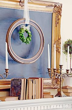 Ready to learn how to decorate a mantel like a pro? Learn these 3 easy steps and you'll be styling a mantel like a pro! Boxwood Wreath, Wreaths, Living Room Update, Living Rooms, Old Orchard, Painted Cottage, French Country Cottage, Cottage Style, Fireplace Mantels