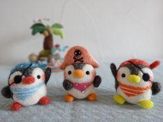 Oh my goodness! I need them!!! They're Penguin. Pirates! (penguin pirates Felt needle wool)