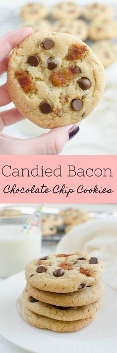 Candied Bacon Chocolate Chip Cookies - the perfect sweet and salty cookie! Bacon is quickly candied in the oven and then added to the best chocolate chip cookies recipe!