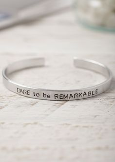Dare to be Remarkable - Hand Stamped Aluminium Cuff Bracelet - Lime Lace #ValentinesDay