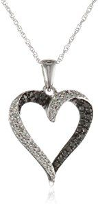 """10k White Gold Black and White Diamond Heart Pendant Necklace (1/3 cttw, I-J Color, I2-I3 Clarity), 18""""  Product ViewSee larger image and other views (with zoom)Product ScreenshotsCheck All OffersAdd to Wish ListCustomer ReviewsFeaturesImportedThe total diamond carat weight listed is approximate. http://ecx.images-amazon.com/images/I/31eHBo9FryL._SL300_.jpg http://electmejewellery.com/jewelry/necklaces/10k-white-gold-black-and-white-diamond-heart-pendant-necklace-13-cttw-ij-c"""