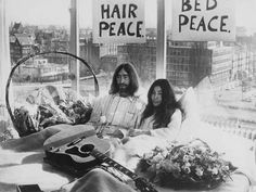"John Lenon and Yoko Ono conducted a Bed-In For Peace in 1969 after their marriage. They protested the Vietnam War by singing ""Give Peace a Chance."""