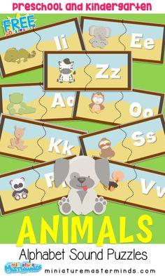 A to Z Animal Alphabet 2 Part Sound Matching Puzzles ⋆ Miniature Masterminds Animal Activities, Alphabet Activities, Craft Activities For Kids, Preschool Alphabet, Kids Crafts, Free Preschool, Preschool Lessons, Preschool Director, Preschool Centers