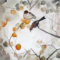 SALE 15% Off - Autumn Bird Art - Asian Art - Animal Art - Fall - 8x8 Giclee Print. $25.50, via Etsy.