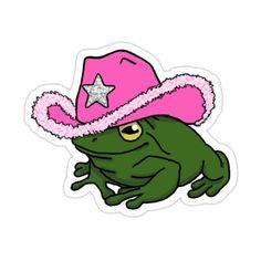 Cowboy Hat Drawing, Pink Cowboy Hat, Frog Wallpaper, Painted Bookshelves, Indie Drawings, Frog Drawing, Cute Animal Drawings Kawaii, Frog Art, Cute Frogs
