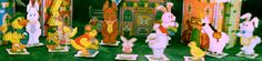 What would Bunny Village be without its residents?  Meet all of the happy workers that help make Easter possible.  You'll find rabbits, ducks, peeps and more...12 different characters.  Each figure includes a stand so make as many as you want.  Easy-to-follow instructions allow you to quickly fill your holiday garden or display just for fun.