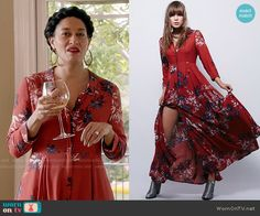 Rainbow's red floral maxi shirtdress on Blackish.  Outfit Details: https://wornontv.net/56235/ #Blackish