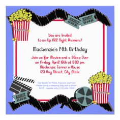 Whether you are going to the cinema or making a home theater, this invitation will add to the fun. Popcorn and a Movie Birthday theme invitation for your next party. #birthday #sleep #over #movie #film #tickets #popcorn #theater #cinema #premiere #now #showing #show #time #party #celebration #invitation #family #kids #teens #teenager #video #children #slumber #party