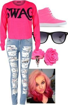 Pink swagg shirt Ripped skinney jeans Pink hair style Pink converse Sunglasses Pink bow earings Source by uniteer Dope Outfits, Swag Outfits, Outfits For Teens, Girl Outfits, Fashion Outfits, School Outfits, Fashion Clothes, Denim Outfits, Stylish Clothes