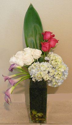 Tall Hydrangea w/ Roses & Mini Callas