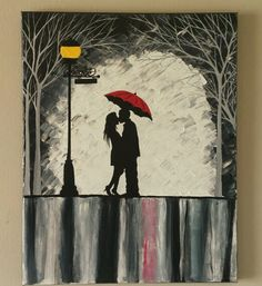 Original Couple in rain painting, Couple kissing in the rain wall art, couple with red umbrella painting, couple silhouette painting Kiss Painting, Umbrella Painting, Umbrella Art, Colorful Paintings, Your Paintings, Original Paintings, Couple Silhouette, Silhouette Painting, Kissing In The Rain