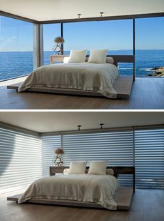 BEDROOM DESIGN IDEA - Place Your Bed On A Raised Platform // This platform bed is surrounded by incredible ocean views, making the bedroom experience that much more unique.
