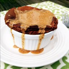 Dark Chocolate Breakfast Souffle with Vanilla Almond Butter Drizzle - Primally Inspired