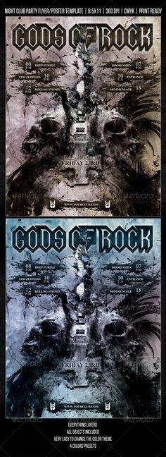 Grunge / Gothic / Rock Night Club Party Flyer