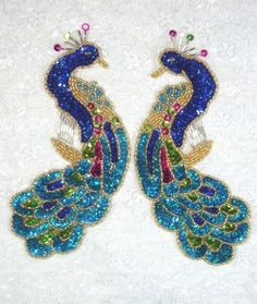 0167  Blue Peacock Mirror Pair Sequin Beaded by gloryshouse, $13.99