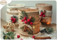 Cute idea for Christmas candles Christmas Candles, Noel Christmas, Homemade Christmas, Christmas Projects, Winter Christmas, Holiday Crafts, Christmas Ornaments, Diy Christmas Centerpieces, Rustic Christmas Decorations