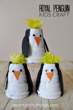 Royal Penguin Kids Craft - fun winter craft to make from foam or paper cups!