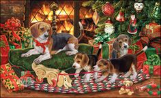 """Beagle Christmas Cards are 8 1/2"""" x 5 1/2"""" and come in packages of 12 cards. One design per package. All designs include envelopes, your personal message, and choice of greeting. Select your greeting from the drop-down menu above.Add your personal message to the Comments box during checkout"""