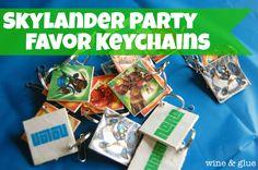 Wine and Glue: Skylander Party Favor Keychains {Tutorial}