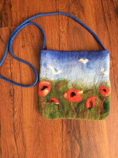 felted purse with poppies