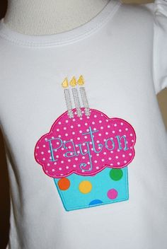 Machine Applique Design Cupcake with One Two by appliqueboutique, $6.00
