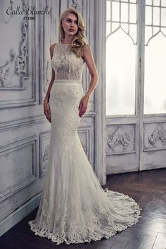 Calla Blanche wedding dress/gown-  Gemma, ivory sheath style wedding dress with beaded lace, boat neckline, and sleeveless. For the Bride Boutique, Ft. Myers, FL