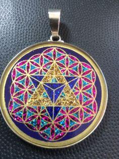 "Necklace MerKaBa Flower Of Life Tourmaline Gemstone 1.5/8"" Sterling Silver Gift"