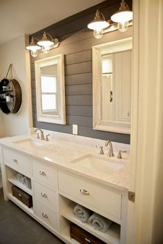 This bathroom is one of our favorite rooms featuring shiplap decor. #HomeRemodeling