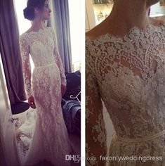 2014 New Fashion Bateau Illusion Long Sleeves Mermaid Covered Button Elie Saab Lace Crystals Wedding Dresses Beach Bridal Gowns