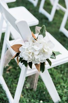 Classy Southern Wedding Ceremony at Warrenwood Manor - Simple magnolia leaf and hydrangea aisle flowers Wedding Ceremony Ideas, Church Wedding Flowers, Aisle Flowers, Wedding Ceremonies, Reception, Wedding Chair Decorations, Wedding Chairs, Wedding Centerpieces, Wedding Table
