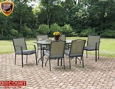 Large Patio Dining Set 7 Pieces 1 Table Furniture 6 Cushioned Chairs Outdoor New #LargePatioDiningSet