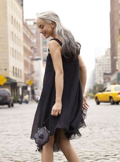 YASMINA ROSSI FORD MODELS  Love her grey hair.