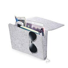 Bedside Caddy, YUEMI Bed Caddy Organizer with 1 Large and 2 Small Pockets for Remote Tablet Phone Bedside Gadget Book Magazine Storage Holder (Light Grey)