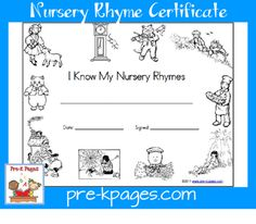 FREE Printable Nursery Rhyme Certificate and Award for Preschool and Kindergarten Nursery Rhyme Crafts, Nursery Rhymes Preschool, Nursery Rhyme Theme, Nursery Rhymes Songs, Preschool Music, Head Start Classroom, Classroom Charts, Nursery Ryhmes, Pre K Pages