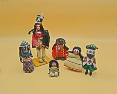 Six Collectible Dolls, Indigenous Dolls, Handmade Vintage Ethnic Miniature Dolls Wood Owls, Star Show, Doll Display, Plastic Doll, Miniature Dolls, Vintage Wood, Traditional Outfits, Suede Leather, Baby Dolls