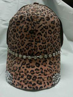 f77ac825b9d70 Olive Pique Custom Envy Leopard Rhinestone Bling Distressed Trucker Hat Cap